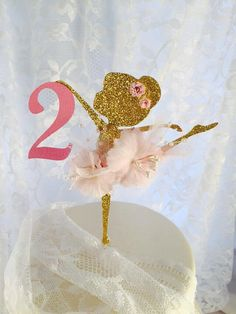 Ballerina Cake Topper - Ballerina Birthday - First Birthday - - Ballerina Decorations - Pink Gold Party - Glitter Ballerina - Posh Party Ballerina Centerpiece, Ballerina Party Decorations, Ballerina Birthday Parties, Birthday Fun, Pink Gold Party, Pink And Gold, Stage Patisserie, Ballerina Cupcakes, Tutu Party