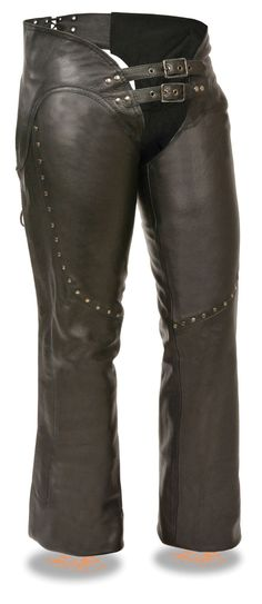 - Premium Cowhide Leather 1.2-1.3mm Thick - Studding to Accent Thigh - Low Rise Waist Design w/ Double Buckle Front - Mesh Quilted Liner for Warm Weather - Back Lacing Adjustment For Perfect Fit