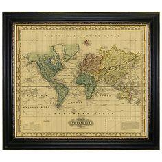 Buy Brookpace, Vintage Maps Collection - Mercator's World Framed Print, 101 x 117cm Online at johnlewis.com