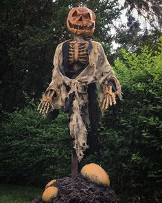 """One of our """"Scorch"""" scarecrows in his natural habitat. Available at DuskProductions.org soon! #props #scorch #scarecrow #nj #haunt #hauntedattraction #midwesthauntersconvention #hauntedhouse #halloween #art #halloweenprops #pumpkin #gore #follow #scary #madeintheusa #buyamerican"""