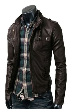 Strap pocket dark brown leather Jacket