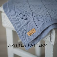 Knitted Baby Blanket Written Pattern Knitting Pattern by belovedLT