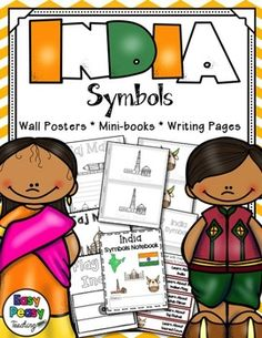 The India symbols included in this notebook are: the country, the country's flag, Qutub Minar, Taj Mahal, and Sacred Cows.This set includes links to learn about each symbol. Wall charts and coloring pages are included so your students or children will have a better understanding of how the symbols look.