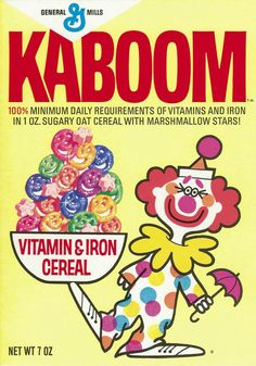Kaboom! Who remembers Kaboom cereal?! Seen here in 1969, the smiling clown faces and marshmallow circus animals were a big hit (and totally not creepy) until this cereal was discontinued in 2010.