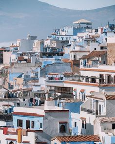Views overlooking Morocco's ancient blue city, Chefchaouen