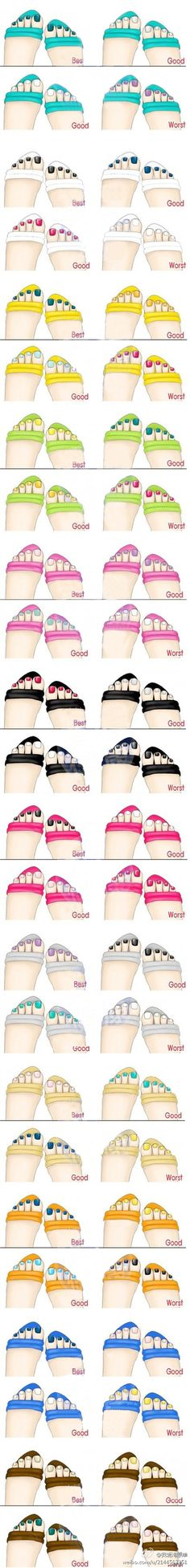 Toenail and flip-flop colour guide #nail #nails #nailart