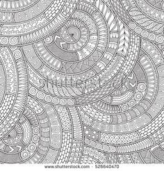 Raster illustration. Doodle background with doodles, flowers and paisley. Pattern can be used for wallpaper, pattern fills, coloring books and pages for kids and adults. Black and white.