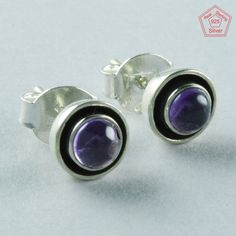 LIGHT WEIGHTED AMETHYST STONE 925 STERLING SILVER STUDS EARRINGS E5370 #SilvexImagesIndiaPvtLtd #Stud