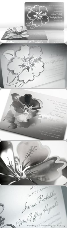 The Hibiscus metal wedding invitation can be transformed into a sculpture or candleholder. This stunning hibiscus wedding invitation is eco-friendly because guests can keep it. It can also double as a favor.