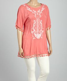 Look what I found on #zulily! Coral Baroque Embroidered Tunic - Plus #zulilyfinds