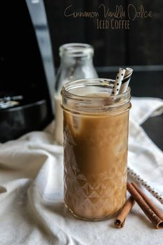 Cinnamon vanilla dolce iced coffee. I plan to try this with Almond milk. Yum!