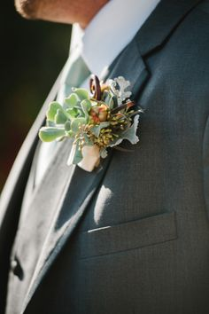 Cute succulent boutonniere for the groom.  Photography by http://www.luminaireimages.com/