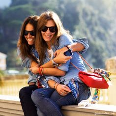 Viviana Volpicella & Aurora Sansone | Jeans, denim shirt, red Chanel bag, silk scarf, sunglasses