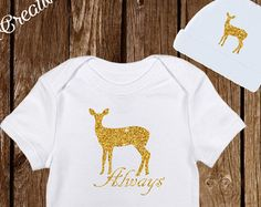 "$14.95 Harry Potter ""Always"" Deer Sparkle onesies with Hat Baby Clothes  https://www.etsy.com/shop/PinkAntCreative"