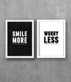 A3 Black & White, apartment decor, typography Prints (Set of Two )- Smile More, Worry Less. $34.00, via Etsy.