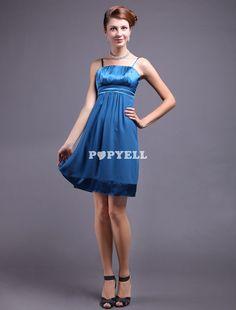 #Robe de cocktail A-ligne plissée en fausse soie à fines bretelles a prix pas cher chez Popyell.com #RobeDemoiselleD'honneur