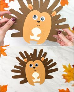 This simple handprint hedgehog is a fun and festive fall craft for kids. It comes with a free printable template and works great for doing at home, at school, daycare, or the library! Fun for preschoolers, kindergarten and elementary children. Easy Fall Crafts, Fall Crafts For Kids, Art For Kids, Kids Work, Kids Diy, Toddler Thanksgiving Crafts, Fall Toddler Crafts, Fall Art For Toddlers, Daycare Crafts