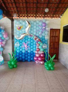 Mundo marino Mermaid Party Decorations, Balloon Decorations, Birthday Party Decorations, 1st Birthday Parties, Mermaid Theme Birthday, Little Mermaid Birthday, Little Mermaid Parties, Balloon Garland, Birthday Pictures