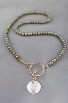 Jennifer Engel Designs - Olivine Freshwater Pearl Necklace with Two-Tone Handcrafted Circle Pendant, Handcrafted Jewelry