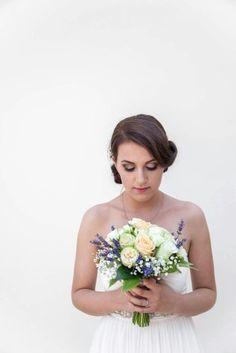 bridal bouquet. Levander, roses, rununculus