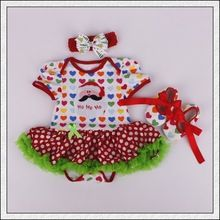 Newborn Baby's First Christmas Tutu Dress Cotton Romper Toddler Festival Costumes for Baby Girls Outfit Xmas party dress 07(China (Mainland))