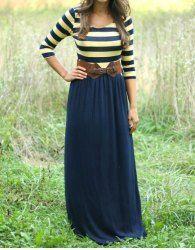 Trendy Scoop Neck 3/4 Sleeve Striped Women's Maxi Dress