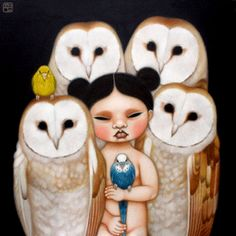 Poh Ling Yeow owls and parakeets Masterchef Australia, Australian Animals, Australian Artists, Painting For Kids, Painting & Drawing, Owl Art, Drawing Tutorials, Asian Art, Altered Art