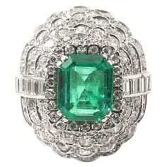 Emerald and diamond ring | 1stdibs.com