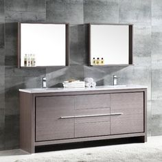 "The Fresca 72"" Allier double sink bathroom vanity is the perfect model. It offers separate sinks, along with a unique square design. Plenty of storage space is available with an additional shelf on the two matching mirrors."