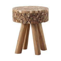 #Taburete en mosaicos de #madera de teka.