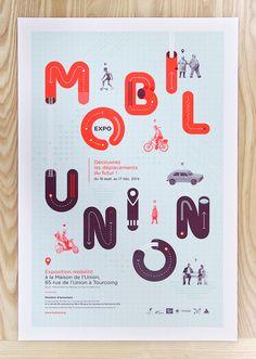 """Poster EXPO """"MOBILUNION"""" à la Maison de l'Union, Tourcoing. www.studiocorpus.com"""