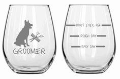 Dog Groomer Glass Set of 2 Choose From Stemless Wine, Wine, Rocks, Beer Mug, Pilsner Pub, Coffee FREE Personalization on Etsy, $29.95