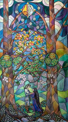 Thingol & Melian Stained glass by Velamir on DeviantArt Tolkien, Glass Wall Art, Stained Glass Art, History Of Middle Earth, O Hobbit, Architecture Tattoo, Art Plastique, Oeuvre D'art, Les Oeuvres