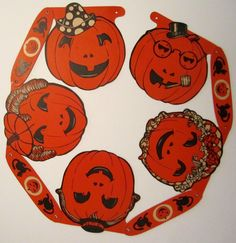 Vintage Beistle Halloween Jack-o-Lantern Garland 1960's