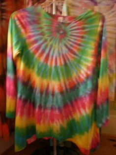 Bright and happy tie dye asymmetrical top by NereidasNiftyThreads, $25.00