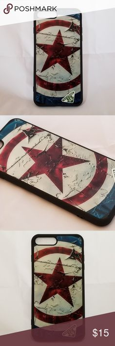Captain America iPhone 7 Plus Silicone Phone Case A Captain America iPhone 7 Plus case that absorbs shock. It protects your phone from dings, dirt and scratches. The soft silicone case has a glossy back cover with high quality graphics.  **Same day shipping available if purchased before 10am EST.** **Next day shipping available if purchased after 10am EST.** Accessories Phone Cases
