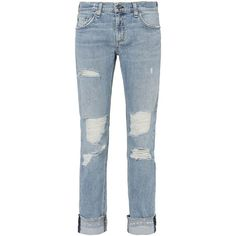Rag & Bone/JEAN Women's Dre Kingston Cuffed Jeans (€250) ❤ liked on Polyvore featuring jeans, denim, ripped blue jeans, slim ripped jeans, slim jeans, slim fit jeans and torn jeans