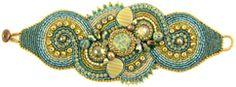 this would be a pretty belt:  Ann Benson's Aqua Terra bead embroidery bracelet download pattern