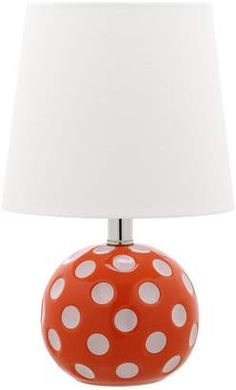 Add the air of an eclectic fashionista with the Safavieh Polka Dot Mini Table Lamp. This gloriously fun light complements any mod-inspired interiors with a charming contrast of white and bright colors. Orange Lamps, Orange Home Decor, Orange House, Contemporary Table Lamps, Kids Lighting, Lamp Sets, Rug Cleaning, Home Decor Items, Floor Lamp