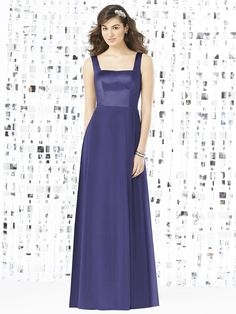 Dessy Social Bridesmaids 8144 Dress. This full-length sleeveless gown is exquisitely lovely. The form fitting sleek bodice is fashioned from smooth Matte Satin and features a square neckline framed with wide straps. The gown has a square back that complements the front. The long skirt flows fabulously in fantastically silky Nu-Georgette, creating an overall impression of radiant elegance.