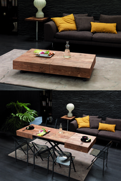 The Cristallo table from Resource Furniture transforms from a coffee table to a dining table in one simple motion!