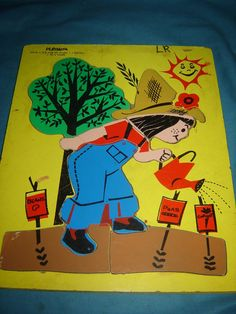 Vintage Playskool It's Fun To Plant Farmer Farming Wood Frame Puzzle