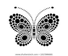 Dots in shape of butterfly. Butterfly shape drawn with many black dots. Dotted object for laser cut. Design element for multilevel stretch ceiling. Dot Art Painting, Rock Painting Designs, Mandala Painting, Painting Patterns, Stone Painting, Butterfly Mandala, Butterfly Drawing, Butterfly Shape, Mandala Painted Rocks