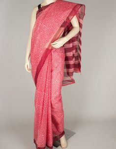 Hand Block Print Kota Doria Saree without Blouse-1069