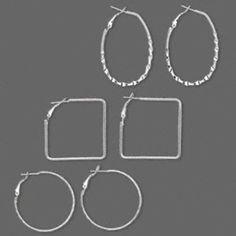 Wholesale Lot 3 Pair Mixed Shape Silver Hoop Earrings