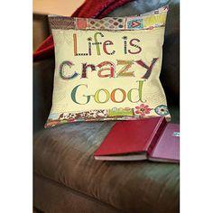 "Thumbprintz Life is crazy Indoor Pillow, 14"" x 14"""