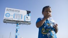 The University of Engineering and Technology and MAYO-DRAFT FCB have constructed an advertising billboard that converts moisture from humid desert air into drinkable water.