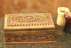 Kashmiri Tiny Floral Hand Carved Walnut Box (Chinar) Price:3,100INR