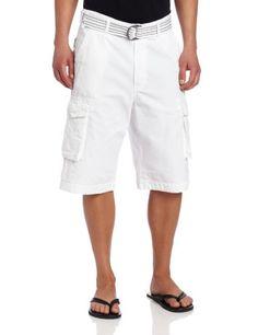Rocawear Men's Blue Print Belted Short, White