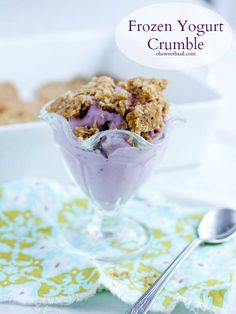 Frozen Yogurt Crumble. Creamy frozen yogurt and a warm, buttery crumble that resembles a cookie over the top. ohsweetbasil.com